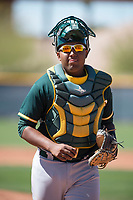 Oakland Athletics catcher Robert Mullen (33) during a Minor League Spring Training game against the Chicago Cubs at Sloan Park on March 19, 2018 in Mesa, Arizona. (Zachary Lucy/Four Seam Images)