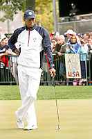 27 SEP 12  Tiger Woods works on his putting during Thursdays Practice Round at The 39th Ryder Cup at The Medinah Country Club in Medinah, Illinois.