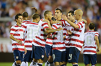 Jacksonville, FL - Saturday, May 26, 2012: Landon Donovan is congratulated by teammates after scoring a goal as the USMNT defeated Scotland 5-1 during an international friendly match.
