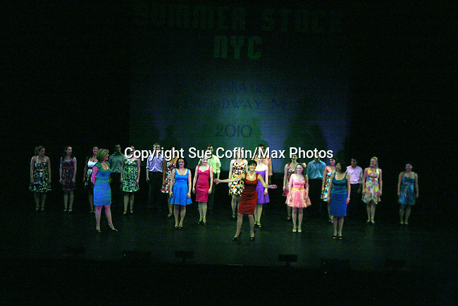 Curtain Call - As The World Turns' Colleen Zenk (red) along with her daughter Kelsey Crouch Pinter (purple) and 4 actresses Karen Mason (green), Carrie Manolakos (blue), Pearl Sun (turquoise), Kelly Felthous (red) and Dana Steingold (gold) star as CAP 21 presents SUMMER STOCK NYC, a celebration of the Broadway Musical on July 17, 2010 at the Michael Schimmel Center for the Arts, Pace University, NYC. (Photo by Sue Coflin/Max Photos)