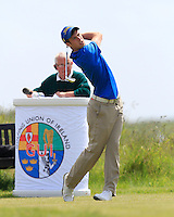 Alex Gleeson (Castle) on the 1st tee during Round 1 of the Irish Amateur Close Championship at Seapoint Golf Club on Saturday 7th June 2014.<br /> Picture:  Thos Caffrey / www.golffile.ie
