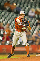 Nathan Thornhill #36 of the Texas Longhorns makes a throw to first base against the Rice Owls at Minute Maid Park on March 2, 2012 in Houston, Texas.  The Longhorns defeated the Owls 11-8.  (Brian Westerholt/Four Seam Images)