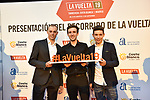 Last year's podium Simon Yates (GBR), Enric Mas (ESP)and Miguel Ángel López (COL) attended the official route for La Vuelta 19 was today announced at the ADDA auditorium in Alicante. The 74th edition of the Spanish race will take place between August 24th and September 15th 2019, setting out from Salinas de Torrevieja and ending in Madrid. 19th December 2018.<br /> Picture: Unipublic/Antonio Baixauli | Cyclefile<br /> <br /> <br /> All photos usage must carry mandatory copyright credit (© Cyclefile | Unipublic/Antonio Baixauli)