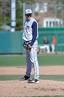 Notre Dame Fighting Irish pitcher Will Hudgins (45) during second game of a doubleheader against St.John's Red Storm at Jack Kaiser Stadium in Queens, New York;  April 21, 2011.  St. John's defeated Notre Dame 4-1.  Photo By Tomasso DeRosa/Four Seam Images