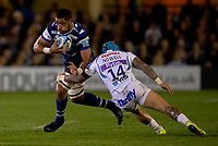 Bath Rugby's Taulupe Faletau evades the tackle of Exeter Chiefs' Jack Nowell<br /> <br /> Photographer Bob Bradford/CameraSport<br /> <br /> Gallagher Premiership - Bath Rugby v Exeter Chiefs - Friday 5th October 2018 - The Recreation Ground - Bath<br /> <br /> World Copyright &copy; 2018 CameraSport. All rights reserved. 43 Linden Ave. Countesthorpe. Leicester. England. LE8 5PG - Tel: +44 (0) 116 277 4147 - admin@camerasport.com - www.camerasport.com