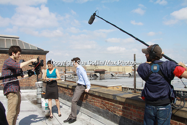 Annalisa Derr & Nick Lewis star in Empire The Series films on set June 3, 2012  in Brooklyn, New York. (Photo by Sue Coflin/Max Photos)