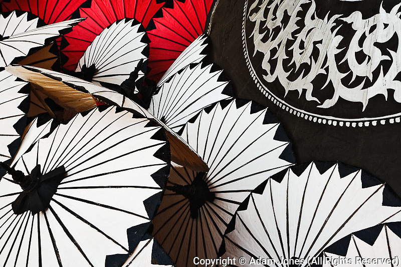 Hand made decorative umbrellas, Bo Sang near Chiang Mai, Thailand