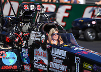 Nov 11, 2016; Pomona, CA, USA; Ashley Fye, crew chief for NHRA top fuel driver Scott Palmer during qualifying for the Auto Club Finals at Auto Club Raceway at Pomona. Mandatory Credit: Mark J. Rebilas-USA TODAY Sports