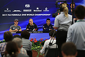 5th October 2017, Suzuka Circuit, Suzuka, Japan; Japanese Formula One Grand Prix, Thursday Setup and Press Conference; Valtteri Bottas - Mercedes AMG Petronas F1 Team, Stoffel Vandoorne - McLaren Honda and Pascal Wehrlein – Sauber F1 Team