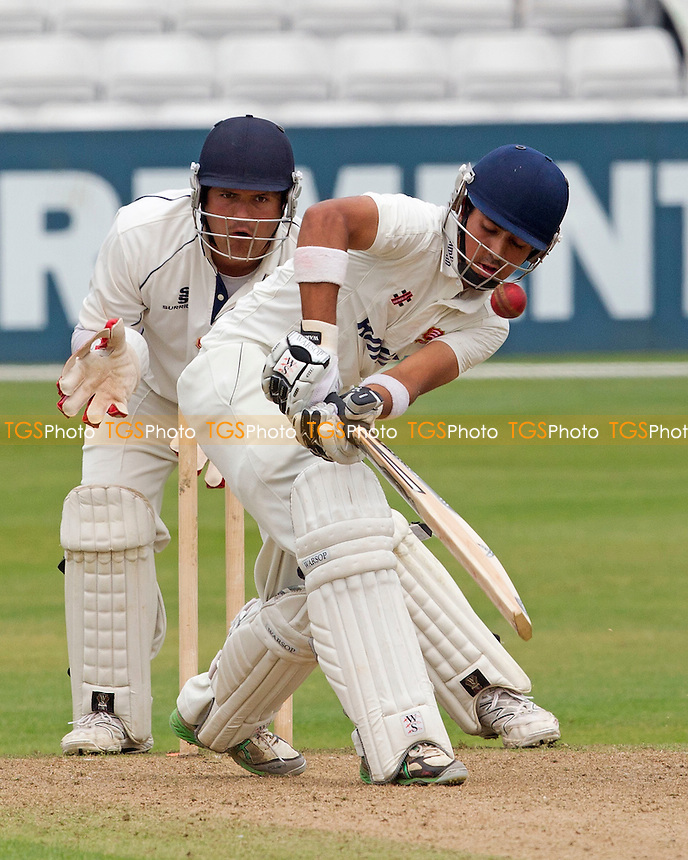 Rehan Hassan watched closely by James Redwood (Brentwood) - Essex CCC 2nd XI vs Shepherd Neame Essex League Select XI - Cricket Challenge Match at the Ford County Ground, Chelmsford, Essex - 27/07/12 - MANDATORY CREDIT: Ray Lawrence/TGSPHOTO - Self billing applies where appropriate - 0845 094 6026 - contact@tgsphoto.co.uk - NO UNPAID USE.