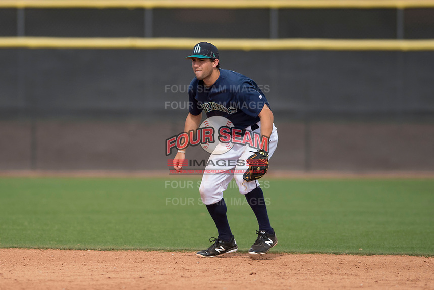 Seattle Mariners shortstop Johnny Adams (2) during a Minor League Spring Training game against the San Diego Padres at Peoria Sports Complex on March 24, 2018 in Peoria, Arizona. (Zachary Lucy/Four Seam Images)