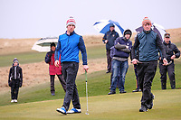 Alex Gleeson (Castle) and Robert Brazill (Naas)<br /> during the final of the 2018 West of Ireland, in Co Sligo Golf Club, Rosses Point, Sligo, Co Sligo, Ireland. 03/04/2018.<br /> Picture: Golffile | Fran Caffrey<br /> <br /> <br /> All photo usage must carry mandatory copyright credit (&copy; Golffile | Fran Caffrey)