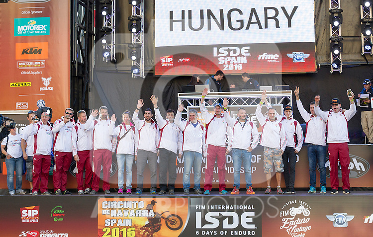 Hungary enduro team during the presentation of the FIM international six days of enduro 2016 in Pamplona, Spain. October 09, 2016. (ALTERPHOTOS/Rodrigo Jimenez)