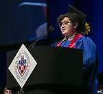 Brook Lynn Leonhardt, student speaker, addresses fellow classmates Sunday, June 11, 2017, during the DePaul University College of Science and Health and College of Liberal Arts and Social Sciences commencement ceremony at the Allstate Arena in Rosemont, IL. (DePaul University/Jamie Moncrief)