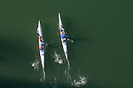 La Conner, Swinomish Channel, open water race, high performance kayaks; aerial, Sound Rowers Open Water Rowing and Paddling Club, Washington State, Pacific Northwest,  USA,