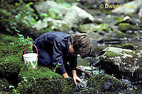FA27-074z  Child collecting animals at stream