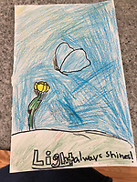 """""""Light always shines"""" drawing by Charlotte Rioux Grade 4, Yarmouth Maine, USA"""