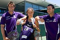 Laura Robson has a hit with Freemantle AFL football players, Luke McPharlin and Paul Hasleby. Laura was presented with her own  2010.playing guernsey..International Tennis - Hyundai Hopman Cup XXII - Thur 07 Jan 2010 - Burswood Dome - Perth - Australia ..© Frey - AMN Images, 1st Floor Barry House, 20-22 Worple Road, London, SW19 4DH