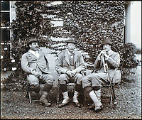 BNPS.co.uk (01202 558833)<br /> Pic: Lawrences/BNPS<br /> <br /> The 5th Earl of Carnarvon (centre) with two companions.<br /> <br /> An intimate set of portraits of the real Downton Abbey which include the visit of the future king have been unearthed after more than 120 years.<br /> <br /> The magnificent 19th century Highclere Castle, in Hampshire, was home to George Herbert, fifth Earl of Carnarvon, and his wife Almina Herbert in the late 19th and early 20th century.<br /> <br /> The album, which is up for auction, contains 44 large mounted photographs of the house, staff and estate of Highclere in 1895.<br /> <br /> Included are images of Carnarvon with his wife Almina, various shooting parties including one involving Prince Edward (the future Edward VII) and the house staff.