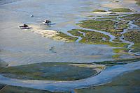 Europe/France/Aquitaine/33/Gironde/Bassin d'Arcachon: Cabanes Tchanquées de l'Ile aux Oiseaux - Vue aérienne