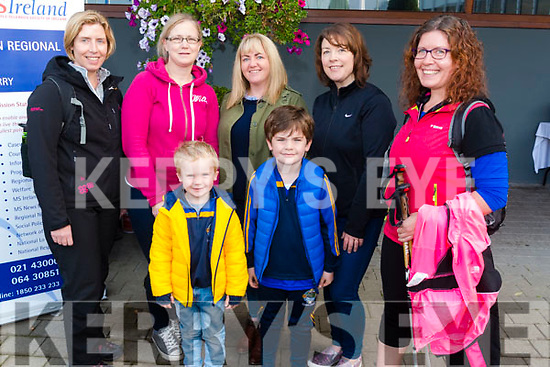 Front Paudie and Jack O'Leary, back l-r Noreen O'Riordan, Pauline Lyne, Diane O'Leary, Tara O'Donoghue and Sinead Cronin all from Killarney pictured at the MS Walk in the Gleneagle Hotel, Killarney last Sunday morning.