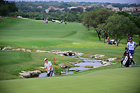 Cameron Smith (USA) hits from the creek on 18 during round 2 of the Valero Texas Open, AT&amp;T Oaks Course, TPC San Antonio, San Antonio, Texas, USA. 4/21/2017.<br /> Picture: Golffile | Ken Murray<br /> <br /> <br /> All photo usage must carry mandatory copyright credit (&copy; Golffile | Ken Murray)