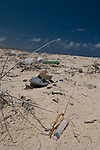 Plastic trash washed ashore on a beach near Tulum, Mexico.