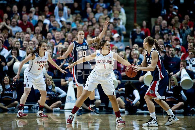 SPOKANE, WA - MARCH 28, 2011: Grace Mashore, Stanford Women's Basketball vs Gonzaga, NCAA West Regional Finals at the Spokane Arena on March 28, 2011.