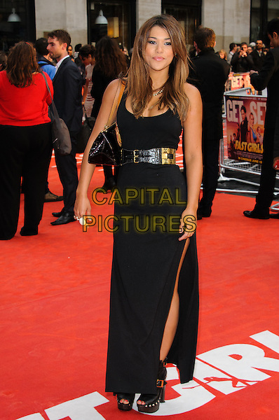 Guest.The 'Fast Girls' UK film premiere, Odeon West End cinema, Leicester Square, London, England..June 7th, 2012.full length black dress gold belt slit split.CAP/CJ.©Chris Joseph/Capital Pictures.