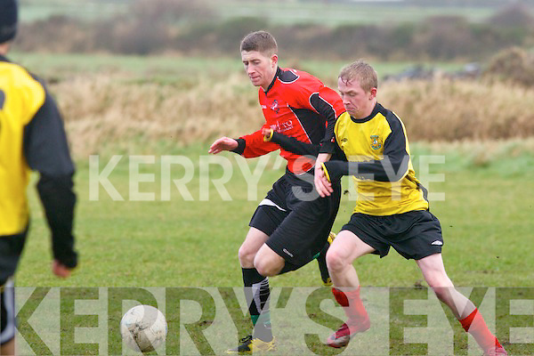 Tralee Dynamos Scott Monaghan and Shannon Wanders Brendan O'Gorman challenge for the ball in the Denny division 1A game at Ballybunion on Sunday.