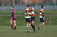 Ilford celebrate their third try during Barking RFC vs Ilford Wanderers RFC, London 3 Essex Division Rugby Union at Gale Street on 9th February 2019