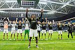 ***BETALBILD***  <br /> Solna 2015-05-31 Fotboll Allsvenskan AIK - Helsingborgs IF :  <br /> AIK:s Mohamed Bangura jublar nedanf&ouml;r AIK:s supportrar med lagkamrater efter matchen mellan AIK och Helsingborgs IF <br /> (Foto: Kenta J&ouml;nsson) Nyckelord:  AIK Gnaget Friends Arena Allsvenskan Helsingborg HIF jubel gl&auml;dje lycka glad happy inomhus interi&ouml;r interior