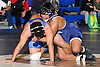 Jon Canas of Huntington, right, battles Audwin Philip of North Babylon at 182 pounds in the opening round of the Suffolk County varsity wrestling championship at North Babylon High School on Wednesday, Jan. 27, 2016. Canas rallied from a deficit to force overtime. He then scored a two-point takedown for an 8-6 decision to help 13th seeded Huntington to a 34-33 upset over fourth seeded North Babylon.