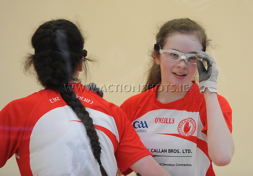 19/03/2018; 40x20 All Ireland Juvenile Championships Finals 2018; Kingscourt, Co Cavan;<br /> Girls Under-14 Doubles; Galway (Sky Ni Mhaille Breathnach/Eadaoin Nic Dhonnacha) v Tyrone (Dearbhla Fox/Cl&oacute;da Nic Con Midhe)<br /> Dearbhla Fox and Cl&oacute;da Nic Con Midhe celebrate as they draw level in games for a tie-break.<br /> Photo Credit: actionshots.ie/Tommy Grealy