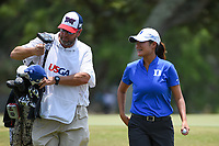 Gina Kim (a)(USA) chats with her caddie on her way to the tee on 2 during round 4 of the 2019 US Women's Open, Charleston Country Club, Charleston, South Carolina,  USA. 6/2/2019.<br /> Picture: Golffile | Ken Murray<br /> <br /> All photo usage must carry mandatory copyright credit (© Golffile | Ken Murray)