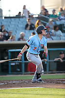 Kyle Survance jr. (7) of the Inland Empire 66ers bats during a game against the Lancaster JetHawks at The Hanger on September 3, 2017 in Lancaster, California. Lancaster defeated Inland Empire, 5-4. (Larry Goren/Four Seam Images)