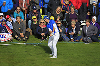 Carlota Ciganda (EUR) on the 18th during Day 3 Singles at the Solheim Cup 2019, Gleneagles Golf CLub, Auchterarder, Perthshire, Scotland. 15/09/2019.<br /> Picture Thos Caffrey / Golffile.ie<br /> <br /> All photo usage must carry mandatory copyright credit (© Golffile | Thos Caffrey)