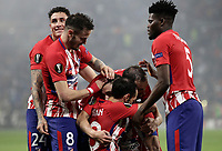 Club Atletico de Madrid's Gabi, bottom, celebrates with his teammates after scoring during the UEFA Europa League final football match between Olympique de Marseille and Club Atletico de Madrid at the Groupama Stadium in Decines-Charpieu, near Lyon, France, May 16, 2018.<br /> UPDATE IMAGES PRESS/Isabella Bonotto