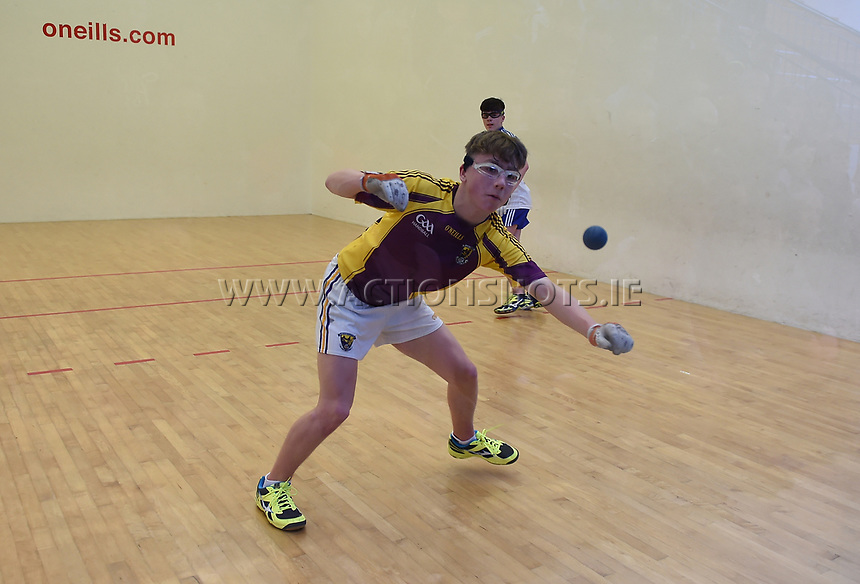 19/03/2018; 40x20 All Ireland Juvenile Championships Finals 2018; Kingscourt, Co Cavan;<br /> Boys Under-16 Singles; Wexford (Josh Kavanagh) v Monaghan (Eoghan McGinnity)<br /> Photo Credit: actionshots.ie/Tommy Grealy