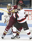 Cory Schneider, Brian Boyle, Denis Chisholm - The Boston College Eagles and Northeastern University Huskies tied at 1 on Saturday, October 22, 2005, at Matthews Arena in Boston, Massachusetts.