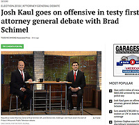 Brad Schimel (left) and Josh Kauk (right) prepare for the Wisconsin attorney general debate on Wisconsin Public Television on Friday, 10/12/18 in Madison, Wisconsin | Wisconsin State Journal article front page 10/13/18 and online at https://madison.com/wsj/news/local/josh-kaul-goes-on-offensive-in-testy-first-attorney-general/article_45b6b7fe-fe44-599b-82ec-60f856f0356a.html