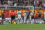 22.07.2017, Millerntor-Stadion, Hamburg, GER, FSP, FC St. Pauli vs SV Werder Bremen<br /> <br /> im Bild<br /> Aziz Bouhaddouz (St. Pauli #9) mit Torschuss und Treffer zum 2:1 gegen Jiri Pavlenka (Werder Bremen #1), <br /> <br /> Foto &copy; nordphoto / Ewert