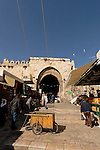 Israel, Jerusalem, Jerusalem, Damascus Gate as seen from inside the Old City<br />