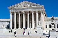 Washington, DC, Supreme Court, Building, District of Columbia, Nations Capital, Cherry Blossoms, Memorial, Parks, National Mall, Washington DC Beautiful, Unique US, Supreme Court, Building, Main entrance, colonnade, steps, and statues,
