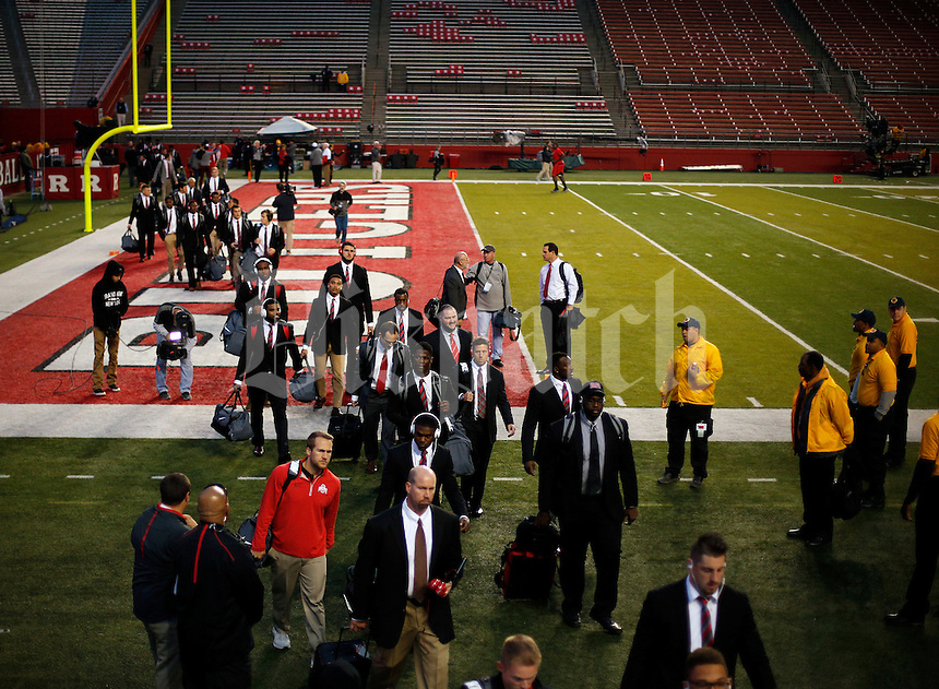 Ohio State Buckeyes arrive at High Point Solutions Stadium for their game against Rutgers Scarlet Knights on October 24, 2015.  (Dispatch photo by Kyle Robertson)