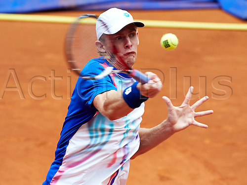 07.05.2014 Madrid, Spain. Kevin Anderson of RSA serves the ball during the game with Tomas Berdych of Czech Republic on day 4 of the Madrid Open from La Caja Magica.