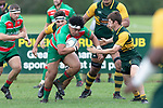 Fui Asoma brings the ball forward. Counties Manukau Premier Club rugby game between Pukekohe and Waiuku, played at Colin Lawrie Fields, Pukekohe on Saturday April 14th, 2018. Pukekohe won the game 35 - 19 after leading 9 - 7 at halftime.<br /> Pukekohe Mitre 10 Mega -Joshua Baverstock, Sione Fifita 3 tries, Cody White 3 conversions, Cody White 3 penalties.<br /> Waiuku Brian James Contracting - Lemeki Tulele, Nathan Millar, Tevta Halafihi tries,  Christian Walker 2 conversions.<br /> Photo by Richard Spranger