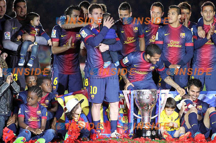 LIONEL MESSI (barcelone) con in bocca il ciuccio del figlio .Barcellona Campione di Spagna .Football Calcio 2012/2013.La Liga Spagna.Foto Panoramic / Insidefoto .ITALY ONLY
