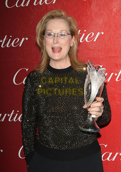 PALM SPRINGS, CA - JANUARY 4: Meryl Streep backstage at the 25th Annual Palm Springs International Film Festival Film Awards Gala on January 4, 2014 at Palm Springs Convention Center, California. <br /> CAP/MPI/RTNUPA<br /> &copy;RTNUPA/MPI/Capital Pictures