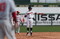 Oregon State Beavers right fielder Tyler Malone (7) stands on second base after hitting a double during a game against the New Mexico Lobos on February 15, 2019 at Surprise Stadium in Surprise, Arizona. Oregon State defeated New Mexico 6-5. (Zachary Lucy/Four Seam Images)